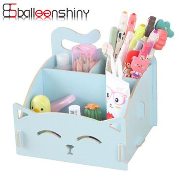BalleenShiny Cute Cat Storage Box Wooden For Jewelry Organizer Makeup Cosmetics Box Container Office Desk Storage Case Holder