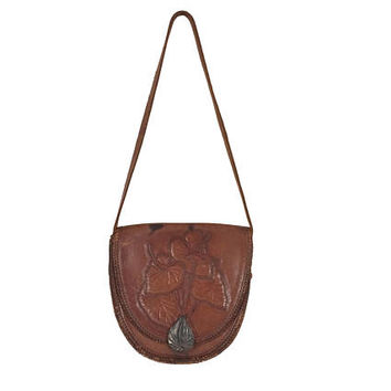 Hippie Boho Purse Tooled Leather Bag Hippie Boho Bag Bohemian Purse Pocketbook Leather Embossed Leather Bag Brown Leather Purse Shoulder Bag