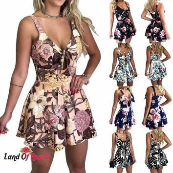 Plus-Size Summer Print Shorts Casual Loose Short Sleeve V-neck Jumpsuit Size: (4- 14)