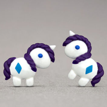 Rarity Stud Earrings - Inspired By My Little Pony, Unicorn Jewelry, Horse Lovers