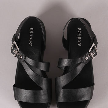 Asymmetric Open Toe Flatform Wedge | UrbanOG