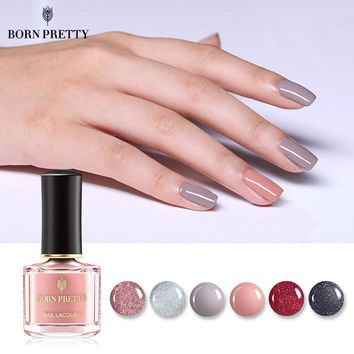 BORN PRETTY Peel Off Nail Polish 6ml Water-based Nude Silver Pure Color Varnish Lacquer Glitter Sequins Shining Nail Art Polish