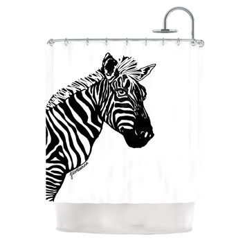 "Geordanna Cordero-Fields ""My Zebra Head"" Black White Shower Curtain"