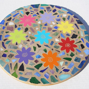 Mosaic Lazy Susan Turntable Kitchen Decor Serving Housewarming Gift  Bridal Shower Home Decor Flower Power