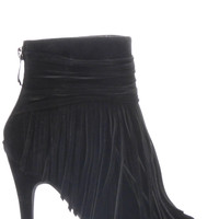 Lilah Fringe Booties - Black