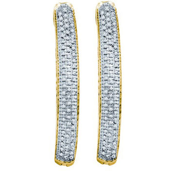 Diamond Micro Pave Earrings in Gold-plated silver 0.48 ctw