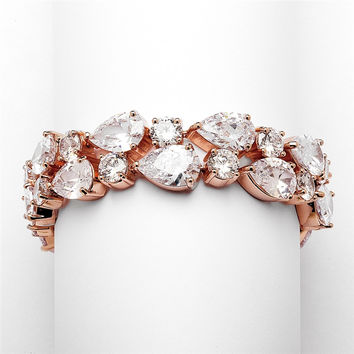 CZ Pears Bridal Statement Bracelet in Rose Gold