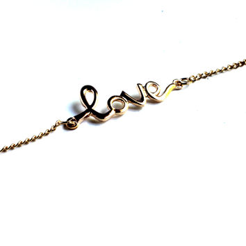 """""""With Love"""" Gold Chain Bracelet"""