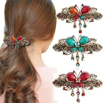 1Pc Retro Rhinestone Flower Hair Clips Elegant Women Barrettes Hairclips Hairpins Beauty Hair Barrette Hairgrip Hair Accessories