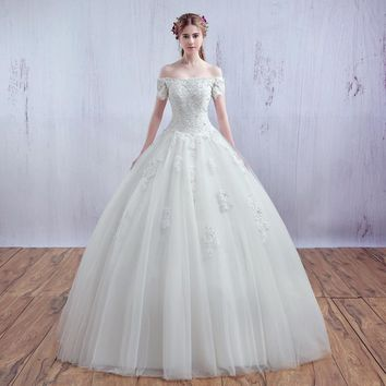 Luxury French Tulle Lace Short Sleeve Vantage Bride Boat Neck Strapless Wedding Dress Bridal ball Gowns Vestido De Noiva
