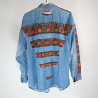 FRESH PRINCE Mens 90s Stonewash Denim Button Up Shirt Zulu African Tribal Print Large