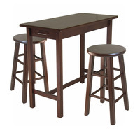 Winsome Wood 3-Piece Breakfast Table with 2 Square Leg Stools