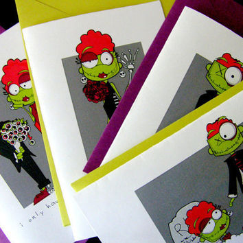 Zombies LoveSet of 4 folded cards by littletoad on Etsy
