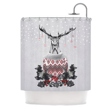 "Nika Martinez ""Christmas Deer Snow"" White Holiday Shower Curtain"