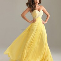 A-line Sweetheart Long Yellow Beading Prom Dress