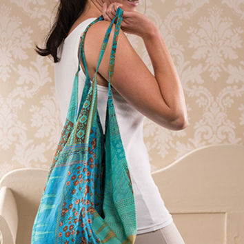 Turquoise & Flowers Slouchy Shoulder Bag. Hand Crafted in Nepal. Gorgeous Bag. Fair Trade. 100% Cotton