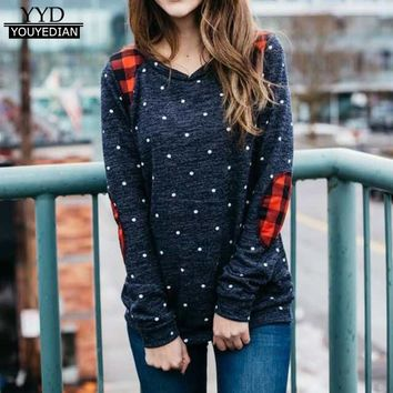 Camisetas Mujer 2017 Autumn T-shirts Womens Casual Long Sleeve O Neck Block Patch Patchwork Polka Dot O-neck Tee Shirt Tops #926