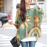 Bohemian Style Loose Bat Sleeve Chiffon Casual T-Shirt Tops Dolman Blouse for Women Girls = 1928367172