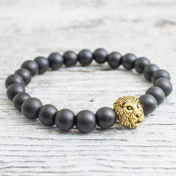 Matte black onyx beaded gold Lion head stretchy bracelet, made to order yoga bracelet, mens bracelet, womens bracelet