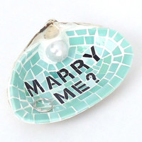 Marry Me Sea Green Wedding Ring Holder // Sea Shell Engagement Ring Dish // Unique Wedding Proposal // Nautical Engagement Proposal