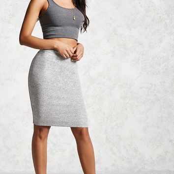 Marled Knit Pencil Skirt