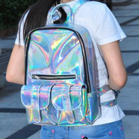 Holographic Backpack Hologram Rainbow Shine Tumblr 90s Retro Bag