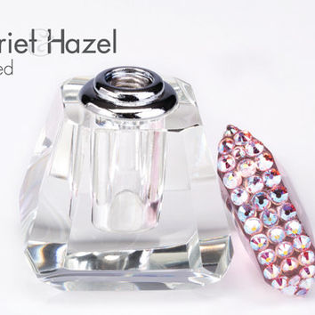 Perfume bottle with hand placed Swarovski crystals