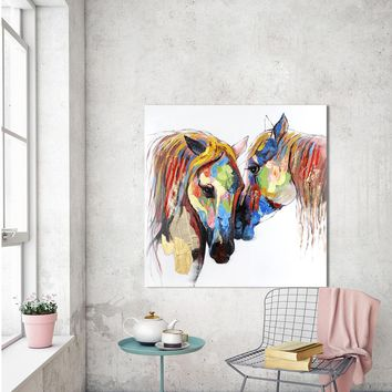 HDARTISAN Wall Art Picture Animal Canvas Painting The Horse Lover For Living Room Home Decor No Frame Printed Painting