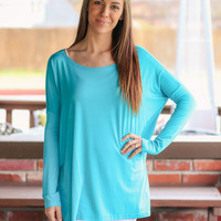 Long Sleeve Piko Top -  Turquoise