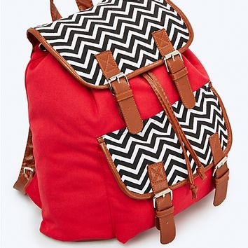 Red & Chevron Backpack