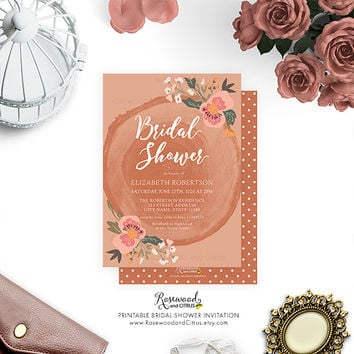 Printable Bridal Shower Invitation, Rustic Bridal Shower Invite, Country Bridal Shower Printable Invitation, Wood Bridal Shower, Floral