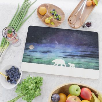 Aurora borealis and polar bears (white version) Cutting Board by savousepate