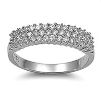 Sterling Silver CZ Triple Row Wedding Band Ring size 5-9