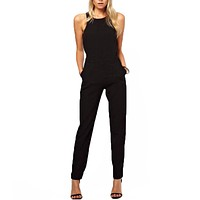 Women Summer Jumpsuit Rompers Casual Elegant Sleeveless Long Trousers Overalls Jumpsuit