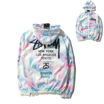 """""""Stussy""""Couple Multicolor Pattern Letter Print Long Sleeve Thin Coat"""