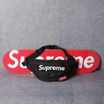 """Supreme"" Unisex Casual Fashion Letter Logo Print Zip Waist Bag Couple Sport Waterproof Single Shoulder Messenger Bag"