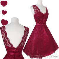 New Retro 50s Vintage Style Bridal Satin Lace Burgundy Red Wine Dress