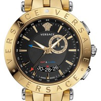 Men's Versace 'V-Race GMT' Bracelet Watch, 46mm - Gold/ Silver