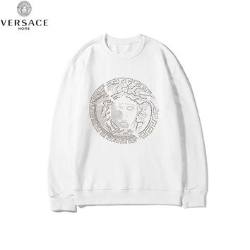 Versace 2019 new cotton round neck thin section heavy duty hot drilling long-sleeved sweater white