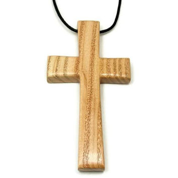 Large Cross Necklace for Men Handmade from Honey Locust Wood, Large Wooden Cross Pendant for Men, Religious Gifts, Gift for Him, Man Cross