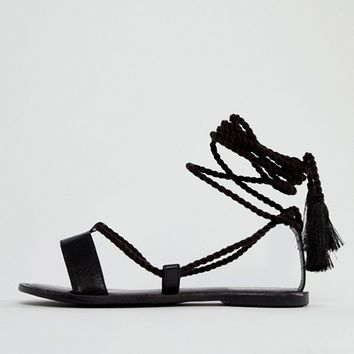 ASOS FIRE FIRE Leather Tie Leg Sandals at asos.com