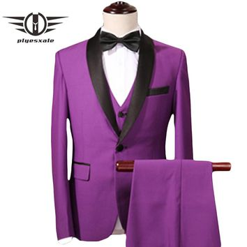 Purple Suit Men Slim Fit Latest Wedding Suits For Men Shawl Collar Prom Suits Stage Jacket Pants Vest