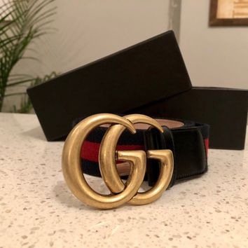 Gucci Men's Blue/Red/Blue Signature Web Belt With Double G Buckle Size 34-36