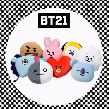 KPOP BTS Bangtan Boys Army  Boys  New BT21 Cotton Soft Cozy Pillow Warm Bolster Cute Plush Doll Korea Vapp TATA Van  KOYA COOKY V  Gift AT_89_10