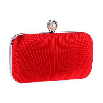 Women Ruched Evening Bags Diamonds Beading Metal Lady Day Clutches Purse
