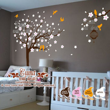 nursery wall decals wall mural Flower tree wall sticker for children kids Nursery - tree birds cat Z232 cuma