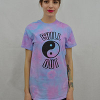 Tie Dye Shirt Yin Yang Chill Out Hippie Small Good Vibes Psychedelic Handmade Tie Dye Womens Clothing Turquoise Lilac Tie Dye Groovy