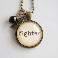 Fighter Necklace - Semicolon Jewelry - Inspirational Pendant - Word Jewelry - Survivor Jewelry -  Suicide Awareness - Gift for Women