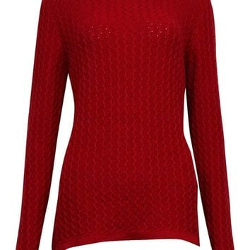 Karen Scott Women's Elegant Textured Cable Knit Sweater