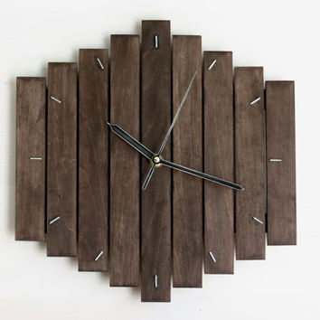 Romb II, contemporary wall clock silent modern style minimalistic minimal simple design home office wooden hanging clock wood gift, paladim